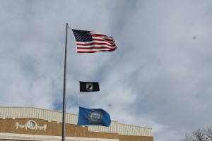 front flags in wind